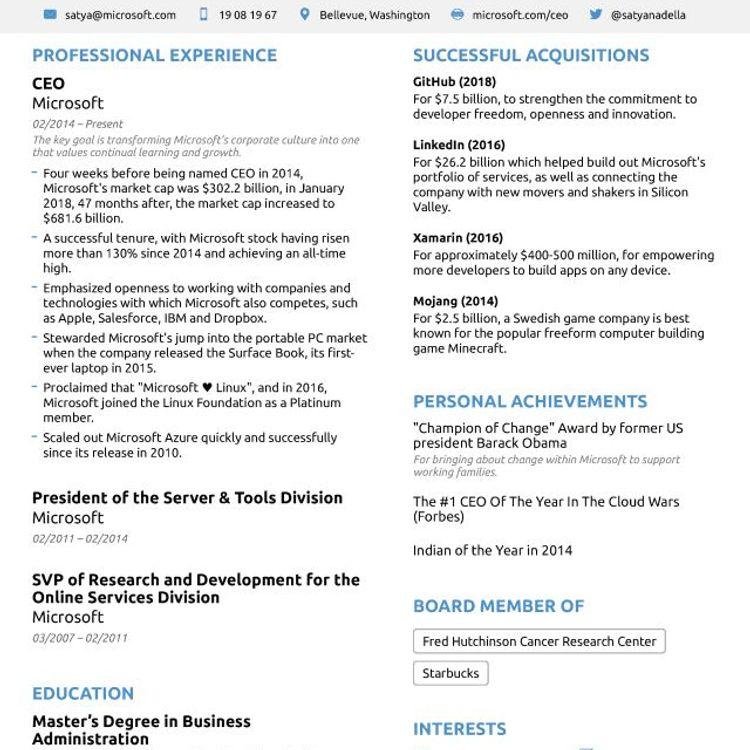 Great CV example...